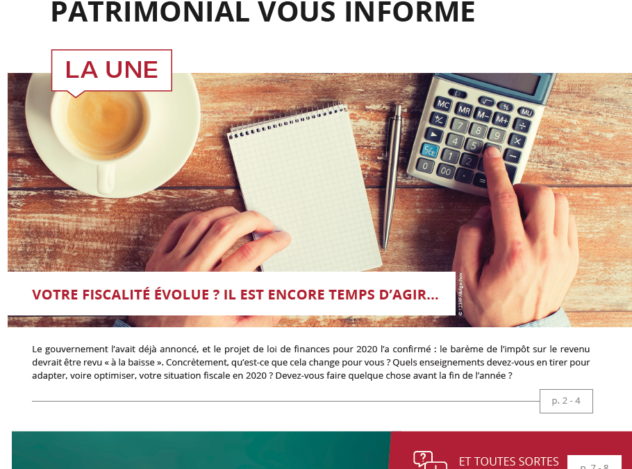 Impôts – placements – immobilier : l'information patrimoniale du 4ème trimestre 2019